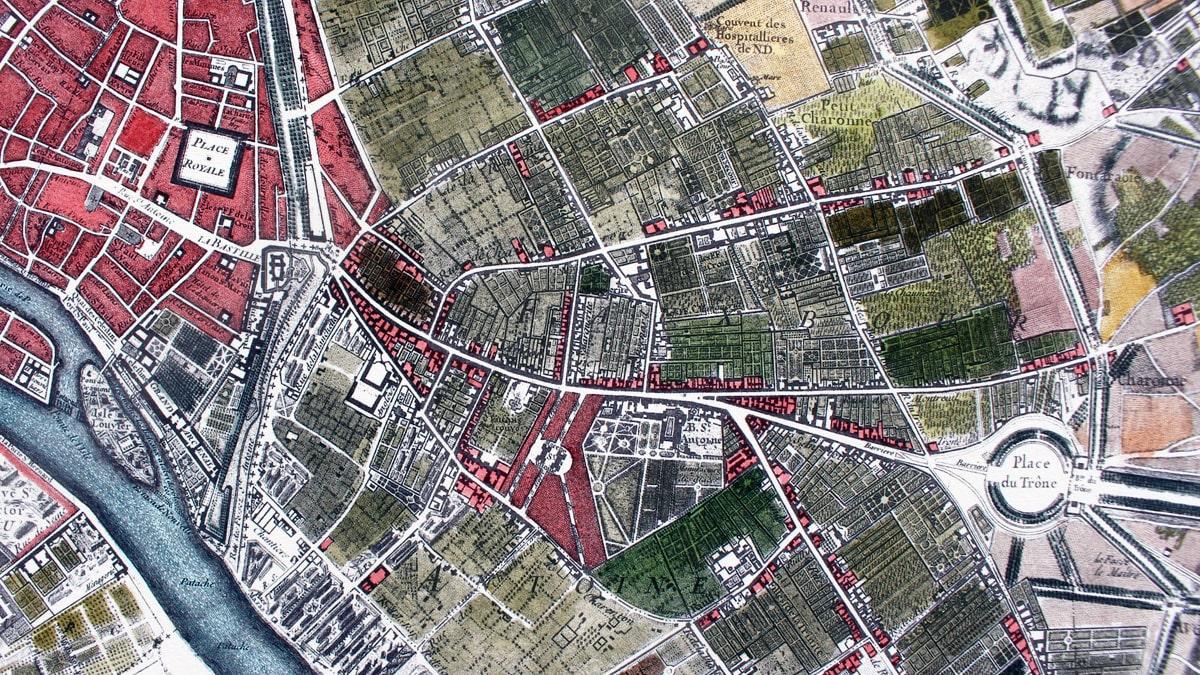 Paris Bastille Plan Roussel 1730