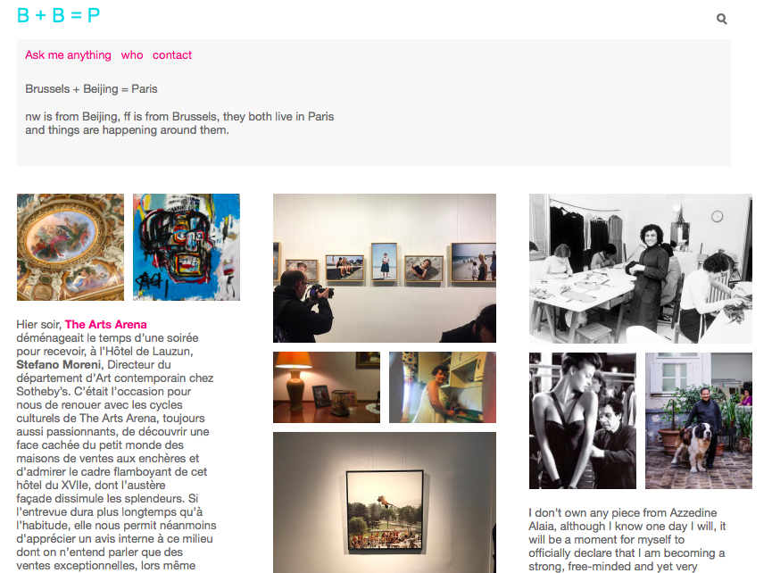 "Screen Print of the blog ""Brussels Beijing Paris"""