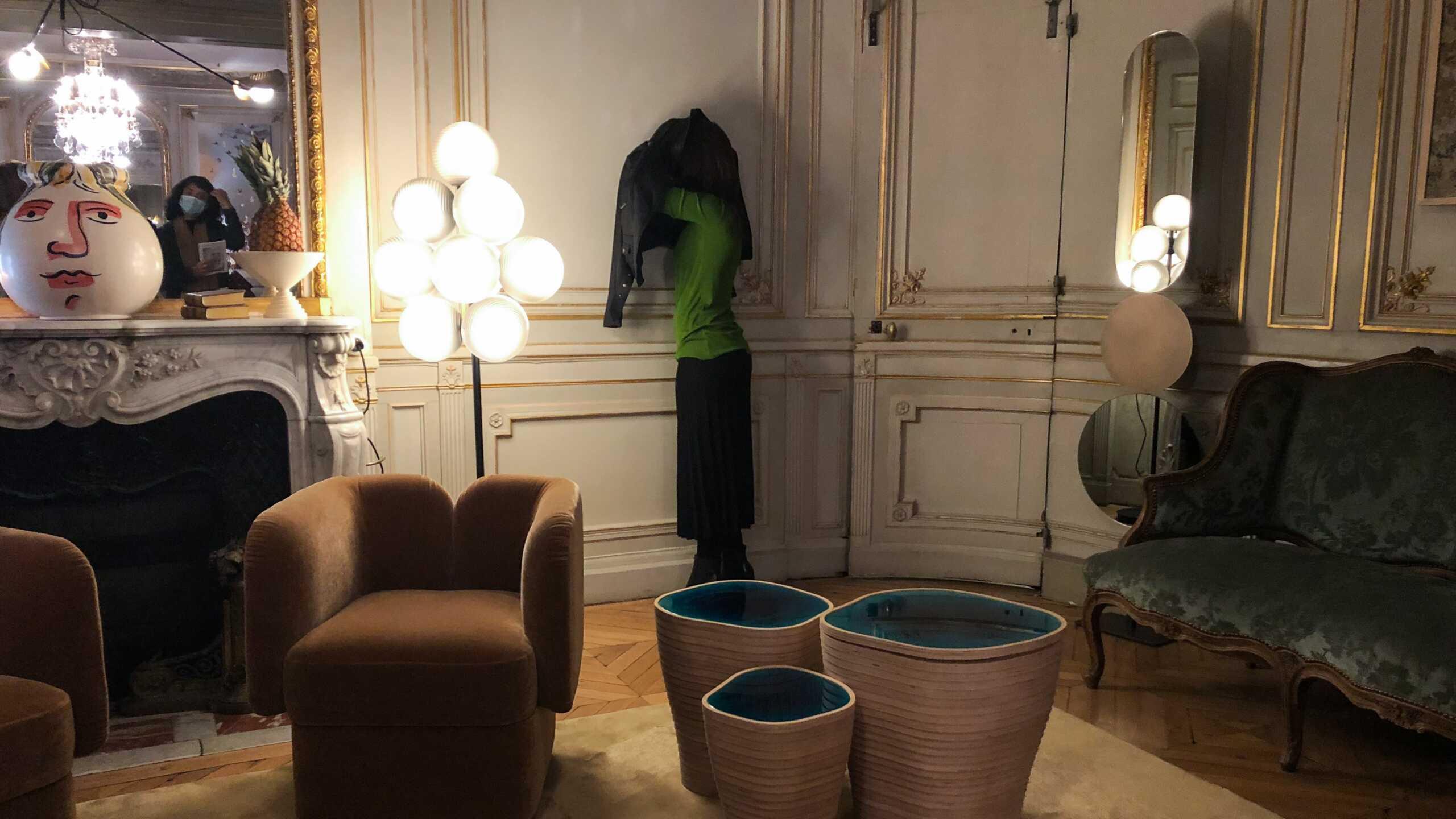 Sebastian Herkner's lamp, Daniel Firman's human sculpture & Julien Lagueste's nested coffee tables